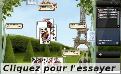 Interface du jeu de belote Gametwist